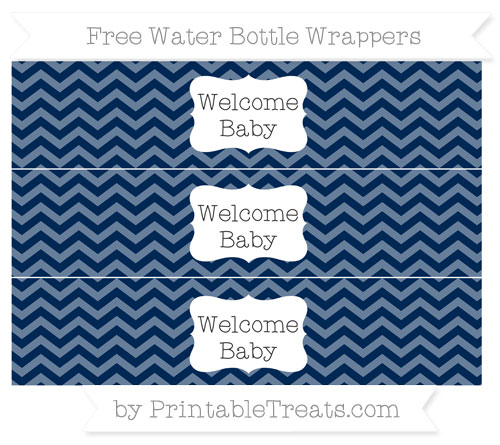 Free Navy Blue Chevron Welcome Baby Water Bottle Wrappers