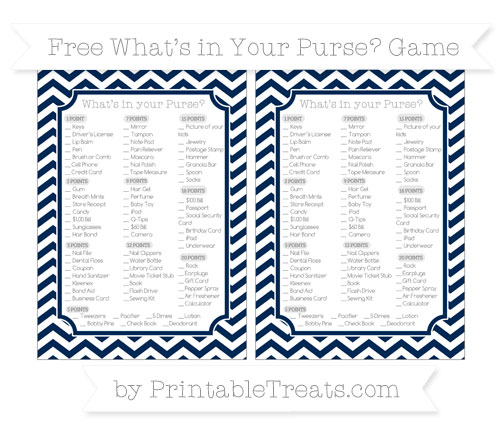 Free Navy Blue Chevron What's in Your Purse Baby Shower Game