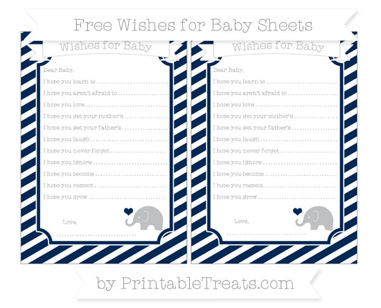 Free Navy Blue Diagonal Striped Baby Elephant Wishes for Baby Sheets