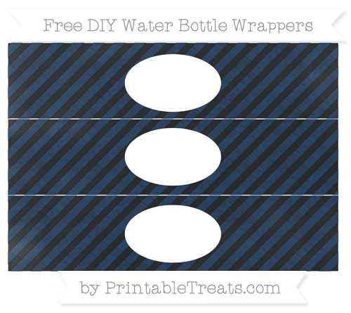 Free Navy Blue Diagonal Striped Chalk Style DIY Water Bottle Wrappers