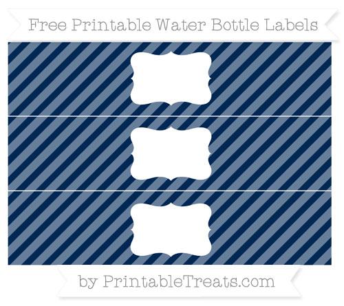 Free Navy Blue Diagonal Striped Water Bottle Labels