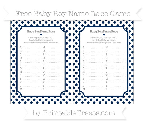 Free Navy Blue Dotted Pattern Baby Boy Name Race Game