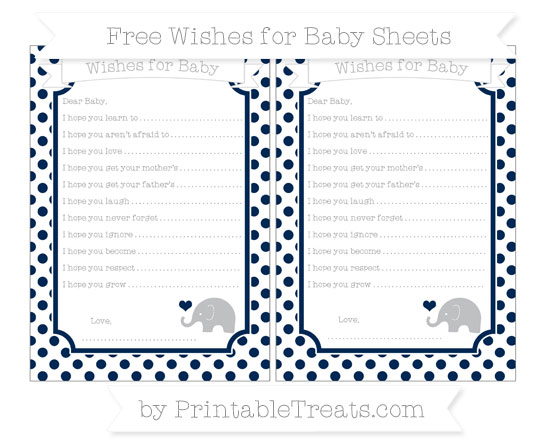 Free Navy Blue Dotted Pattern Baby Elephant Wishes for Baby Sheets