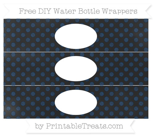Free Navy Blue Dotted Pattern Chalk Style DIY Water Bottle Wrappers