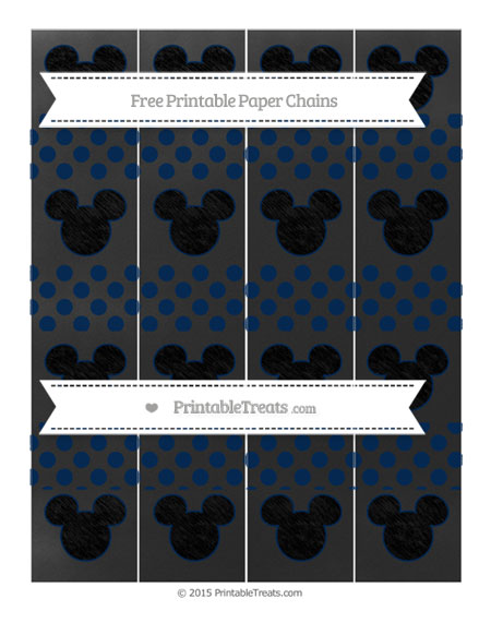 Free Navy Blue Dotted Pattern Chalk Style Mickey Mouse Paper Chains