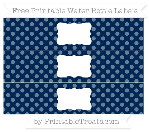 Free Navy Blue Dotted Pattern Water Bottle Labels