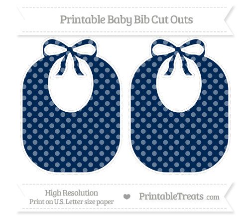 Free Navy Blue Dotted Pattern Large Baby Bib Cut Outs