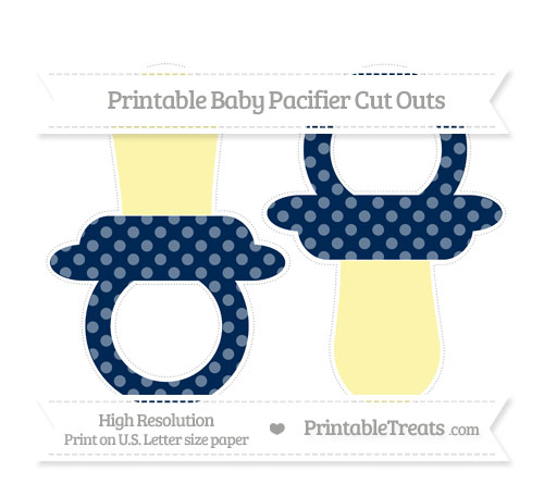 Free Navy Blue Dotted Pattern Large Baby Pacifier Cut Outs