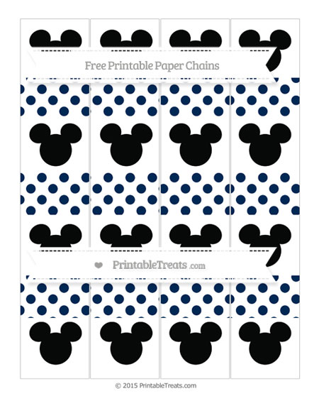 Free Navy Blue Dotted Pattern Mickey Mouse Paper Chains