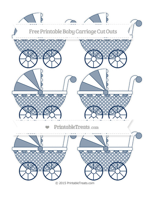 Free Navy Blue Dotted Pattern Small Baby Carriage Cut Outs