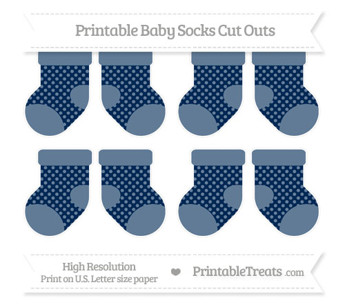 Free Navy Blue Dotted Pattern Small Baby Socks Cut Outs