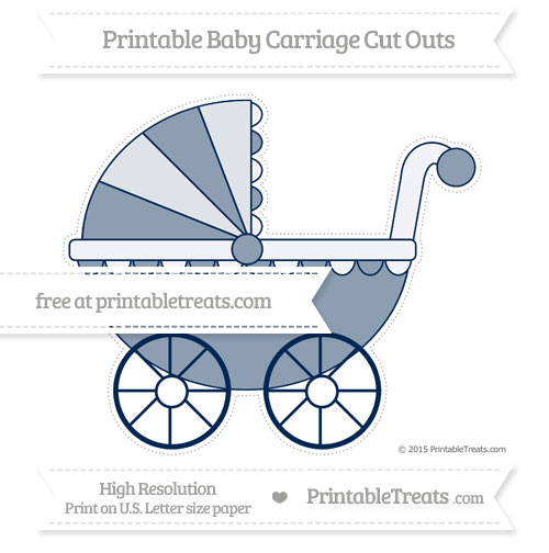 Free Navy Blue Extra Large Baby Carriage Cut Outs
