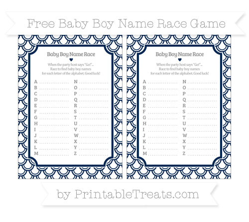 Free Navy Blue Fish Scale Pattern Baby Boy Name Race Game