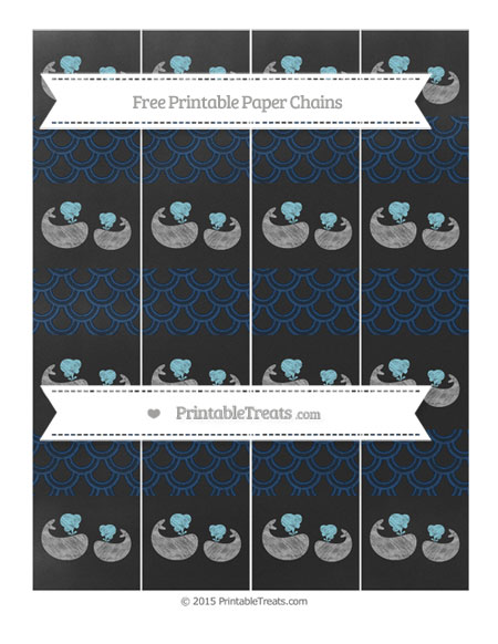 Free Navy Blue Fish Scale Pattern Chalk Style Baby Whale Paper Chains
