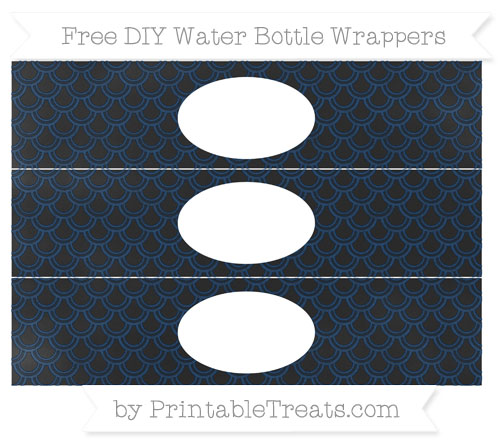 Free Navy Blue Fish Scale Pattern Chalk Style DIY Water Bottle Wrappers