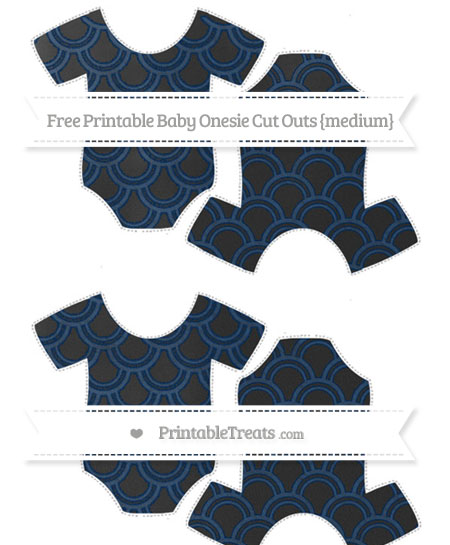 Free Navy Blue Fish Scale Pattern Chalk Style Medium Baby Onesie Cut Outs