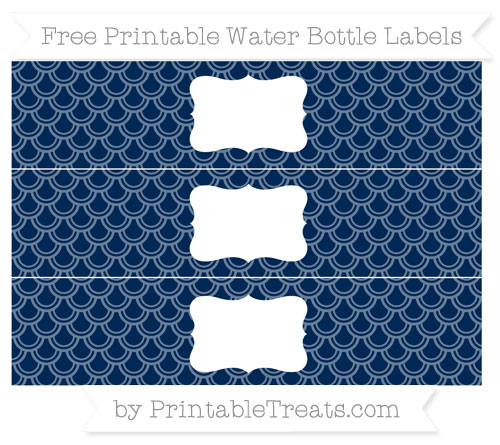 Free Navy Blue Fish Scale Pattern Water Bottle Labels