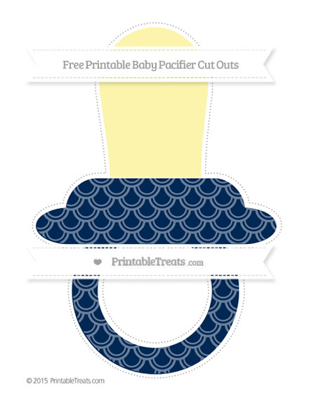 Free Navy Blue Fish Scale Pattern Extra Large Baby Pacifier Cut Outs