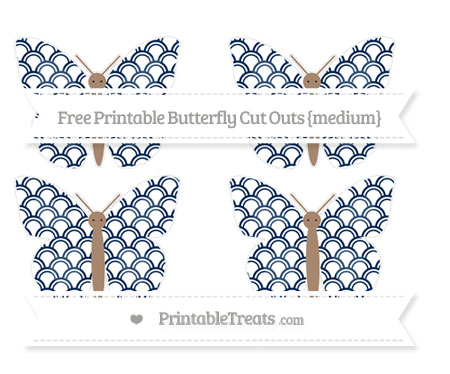Free Navy Blue Fish Scale Pattern Medium Butterfly Cut Outs