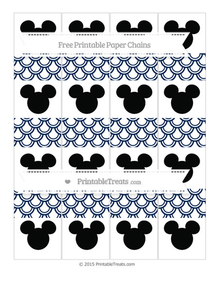 Free Navy Blue Fish Scale Pattern Mickey Mouse Paper Chains