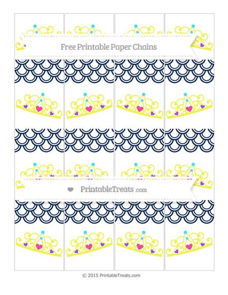 Free Navy Blue Fish Scale Pattern Princess Tiara Paper Chains