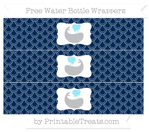 Free Navy Blue Fish Scale Pattern Whale Water Bottle Wrappers
