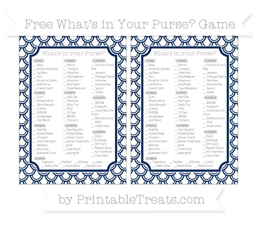 Free Navy Blue Fish Scale Pattern What's in Your Purse Baby Shower Game
