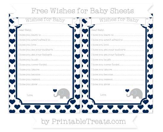 Free Navy Blue Heart Pattern Baby Elephant Wishes for Baby Sheets