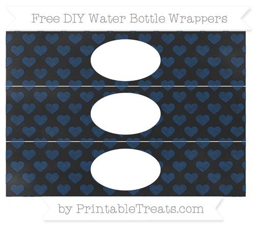 Free Navy Blue Heart Pattern Chalk Style DIY Water Bottle Wrappers