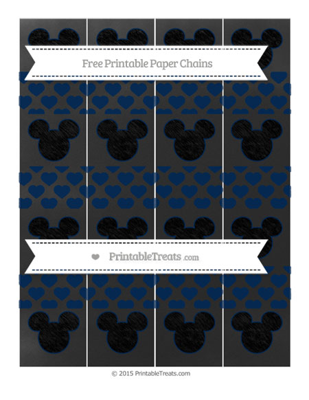 Free Navy Blue Heart Pattern Chalk Style Mickey Mouse Paper Chains