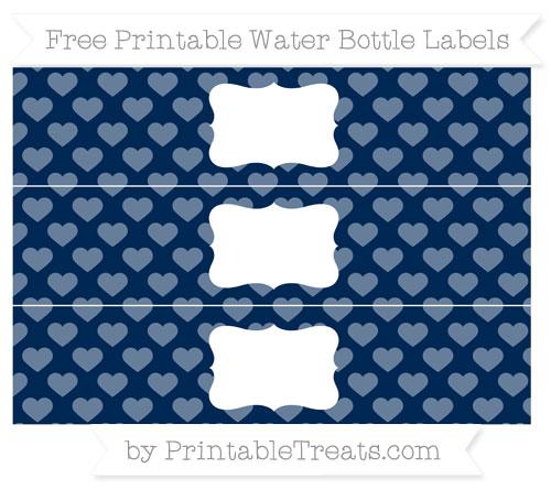 Free Navy Blue Heart Pattern Water Bottle Labels
