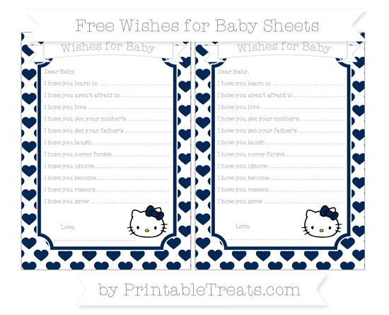 Free Navy Blue Heart Pattern Hello Kitty Wishes for Baby Sheets