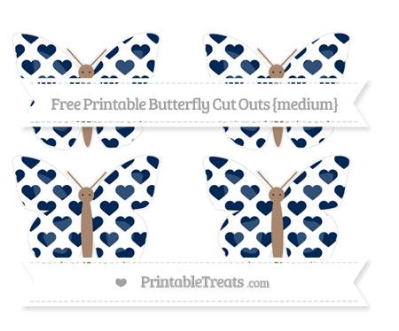 Free Navy Blue Heart Pattern Medium Butterfly Cut Outs