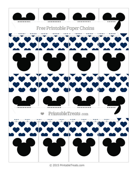 Free Navy Blue Heart Pattern Mickey Mouse Paper Chains