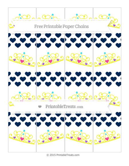 Free Navy Blue Heart Pattern Princess Tiara Paper Chains