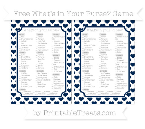 Free Navy Blue Heart Pattern What's in Your Purse Baby Shower Game