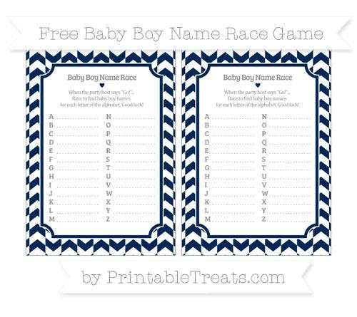Free Navy Blue Herringbone Pattern Baby Boy Name Race Game