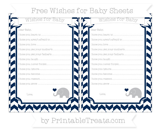 Free Navy Blue Herringbone Pattern Baby Elephant Wishes for Baby Sheets
