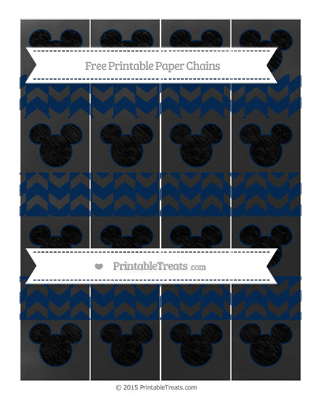 Free Navy Blue Herringbone Pattern Chalk Style Mickey Mouse Paper Chains