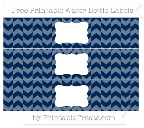 Free Navy Blue Herringbone Pattern Water Bottle Labels