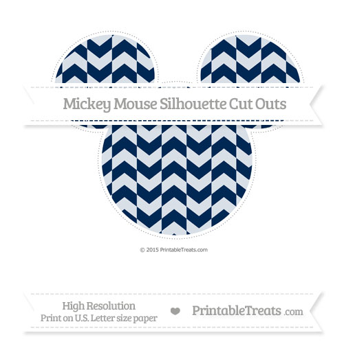 Free Navy Blue Herringbone Pattern Extra Large Mickey Mouse Silhouette Cut Outs