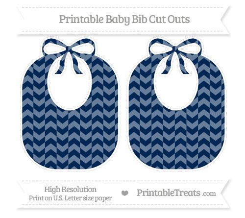 Free Navy Blue Herringbone Pattern Large Baby Bib Cut Outs