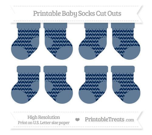 Free Navy Blue Herringbone Pattern Small Baby Socks Cut Outs