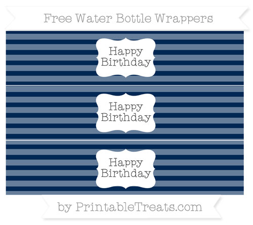 Free Navy Blue Horizontal Striped Happy Birhtday Water Bottle Wrappers