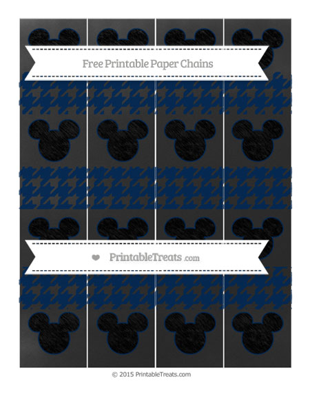 Free Navy Blue Houndstooth Pattern Chalk Style Mickey Mouse Paper Chains
