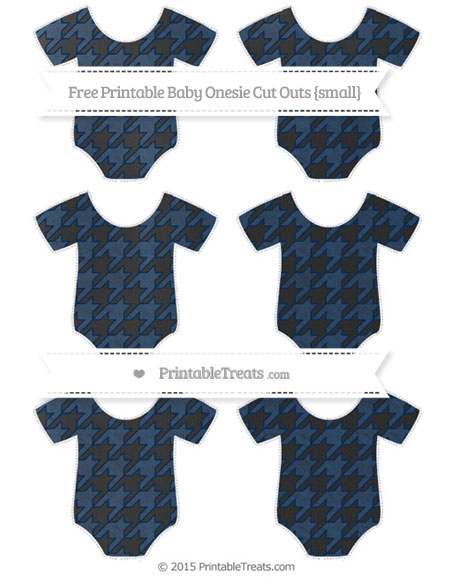 Free Navy Blue Houndstooth Pattern Chalk Style Small Baby Onesie Cut Outs