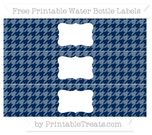Free Navy Blue Houndstooth Pattern Water Bottle Labels