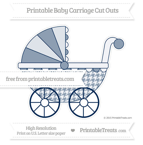 Free Navy Blue Houndstooth Pattern Extra Large Baby Carriage Cut Outs