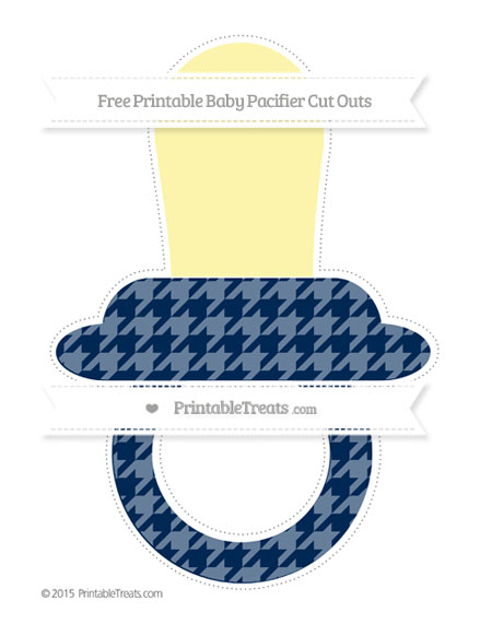 Free Navy Blue Houndstooth Pattern Extra Large Baby Pacifier Cut Outs