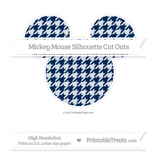 Free Navy Blue Houndstooth Pattern Extra Large Mickey Mouse Silhouette Cut Outs